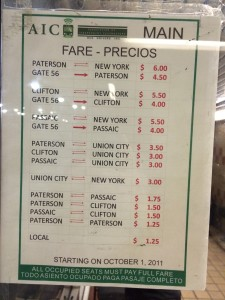 Detailed fare table