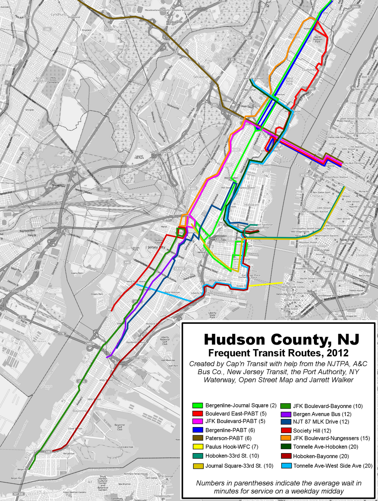 Maps Jitney Buses of New Jersey