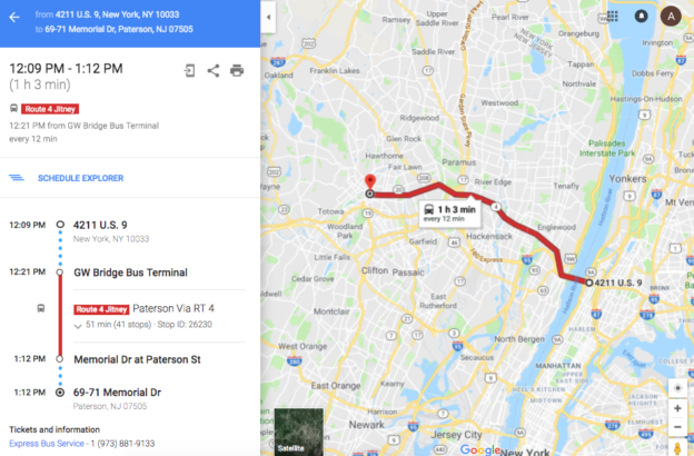 the first jitney route on google maps